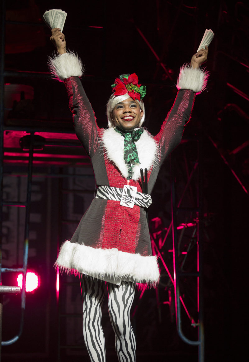 A young drag queen named Angel poses in her sexy Santa outfit.